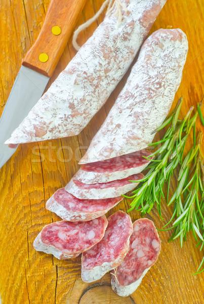 Salame madeira vermelho carne pele café da manhã Foto stock © tycoon