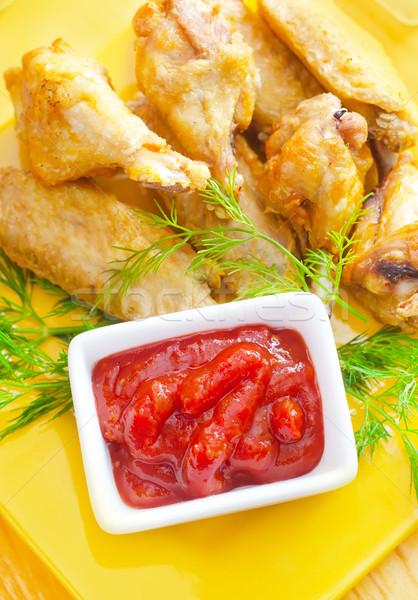 ホット 肉 料理 焼き鳥 翼 赤 ストックフォト © tycoon