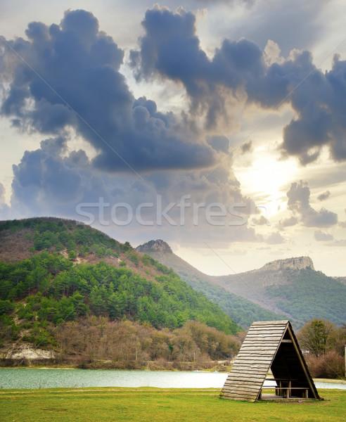 ストックフォト: 湖 · ツリー · 草 · 日没 · 背景 · 緑