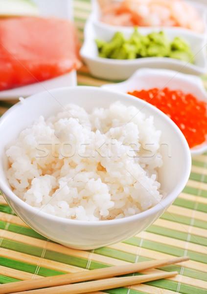 ingredients for sushi, sakmon and cucumber Stock photo © tycoon