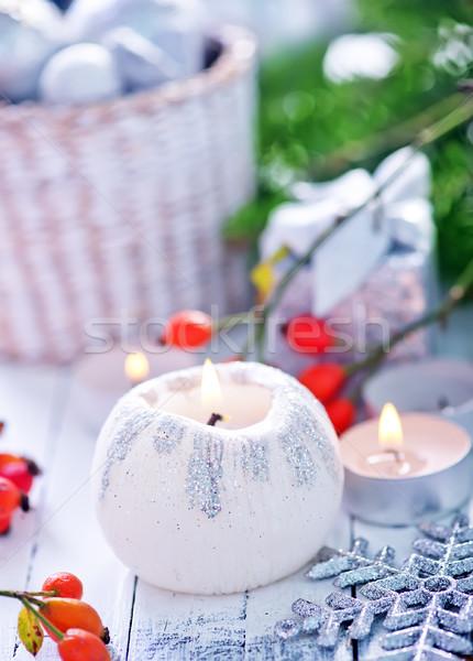 Foto stock: Natal · decoração · mesa · de · madeira · madeira · projeto · fundo