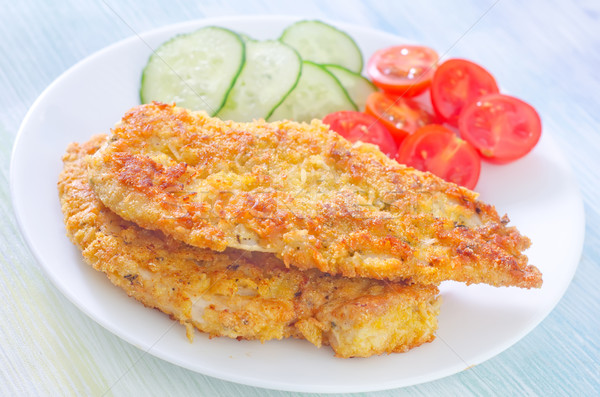 Pechuga de pollo alimentos mama placa tomate blanco Foto stock © tycoon