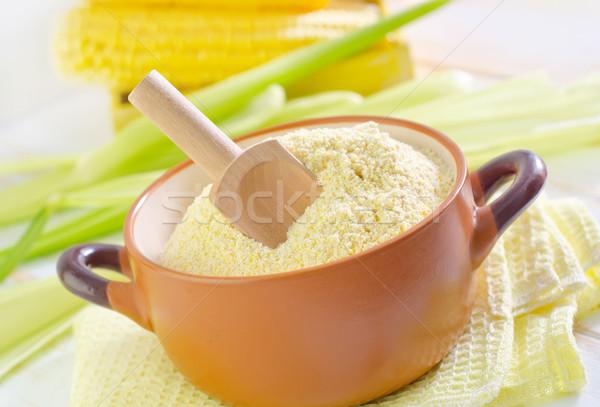 Maïs farine bois fond table blanche Photo stock © tycoon