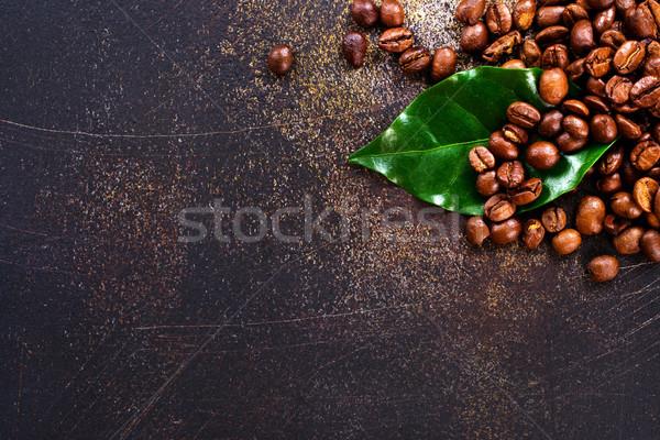 Сток-фото: кофе · кофе · зеленый · лист · таблице · текстуры · фон