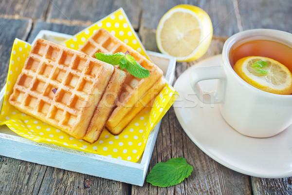 Thee citroen wafel zoete tabel cake Stockfoto © tycoon
