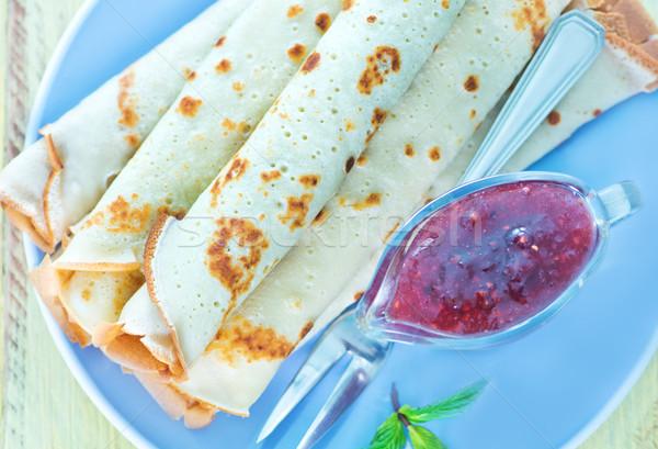 Palacsinták málna lekvár tányér étel forró Stock fotó © tycoon