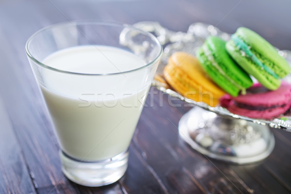 milk in glass and color macaroons Stock photo © tycoon