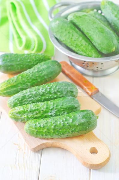 Stock fotó: Uborka · kés · saláta · stúdió · tábla · zöldség