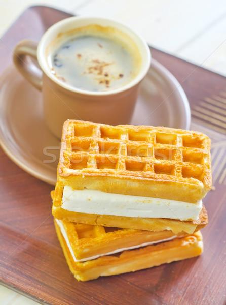Gofre salud fondo torta naranja mesa Foto stock © tycoon