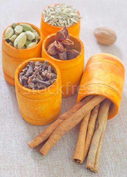 Aroma Spice hout achtergronden kruiden zaad Stockfoto © tycoon