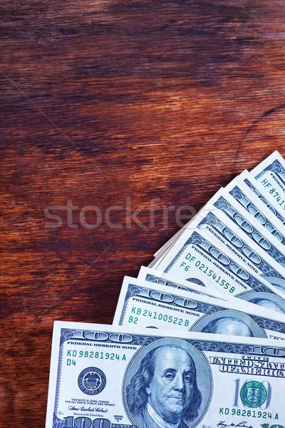 Dollar houten tafel dollar business groene bank Stockfoto © tycoon