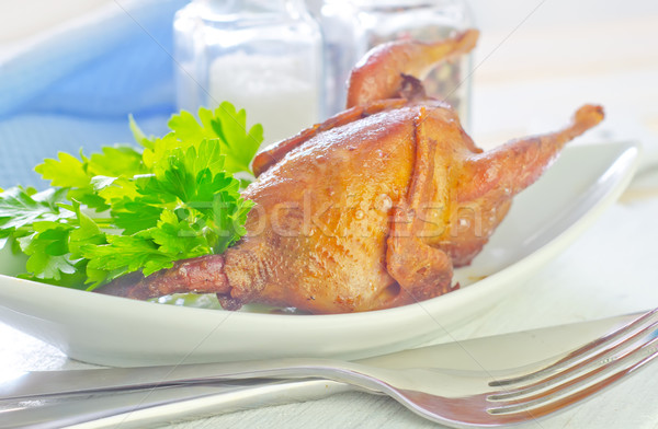 baked quail Stock photo © tycoon