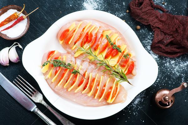 Pechuga de pollo queso placa alimentos pollo carne Foto stock © tycoon