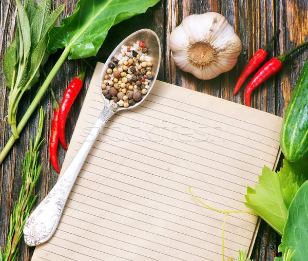 注記 レシピ スパイス 表 食品 ノートブック ストックフォト © tycoon