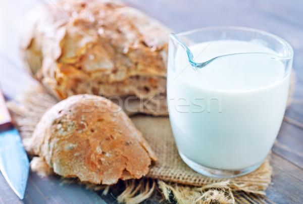Pan leche alimentos vidrio grupo desayuno Foto stock © tycoon