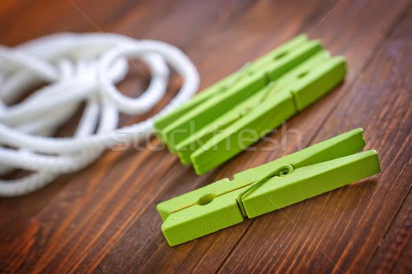 Foto stock: Corda · prendedor · de · roupa · madeira · trabalhar · casa · cabo