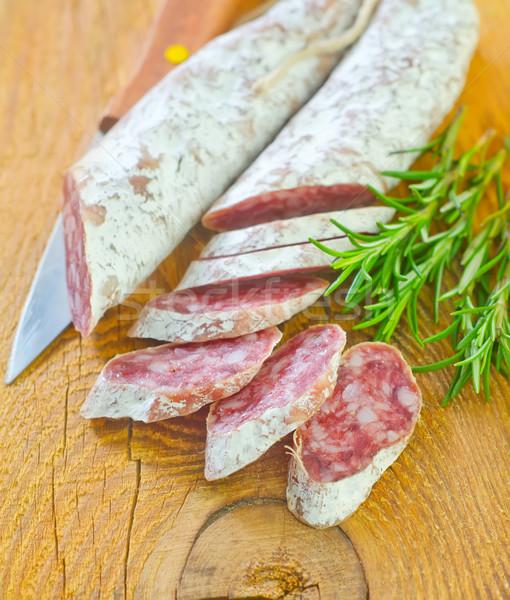 Salame madeira carne pele café da manhã gordura Foto stock © tycoon