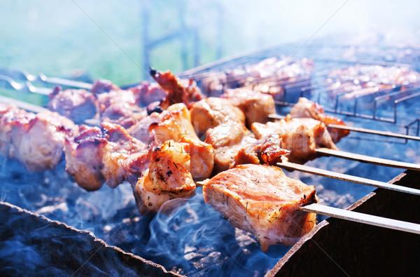 Kebab voedsel brand rook diner vet Stockfoto © tycoon