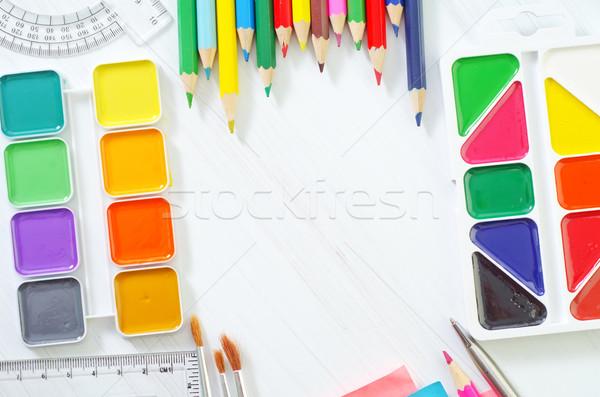 Pędzlem przybory szkolne biuro papieru student farbują Zdjęcia stock © tycoon