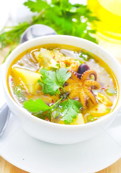 Frischen Suppe Abendessen rot Zitrone Gabel Stock foto © tycoon