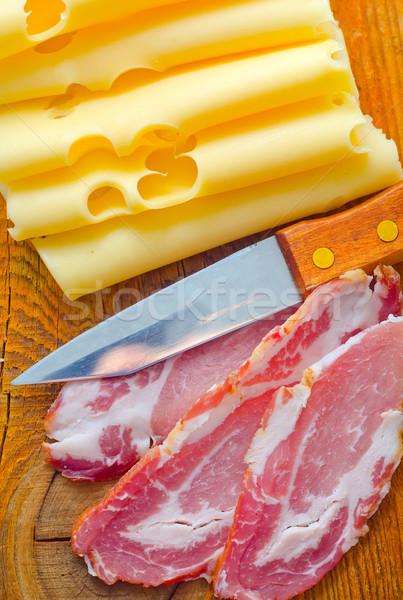 бекон сыра ресторан пластина мяса Сток-фото © tycoon
