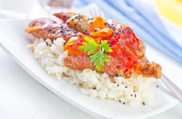 Gotowany ryżu mięsa warzyw restauracji mleka Zdjęcia stock © tycoon
