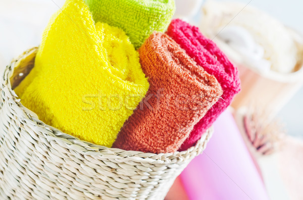 Stockfoto: Kleur · handdoeken · bloem · lichaam · achtergrond · fles