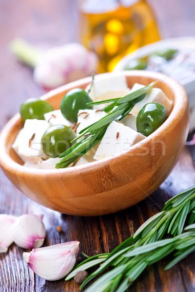 フェタチーズ ローズマリー 緑 オリーブ 青 白 ストックフォト © tycoon