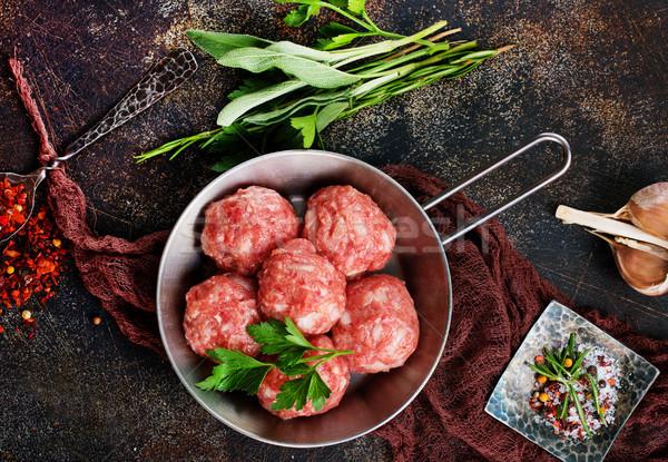 Nyers húsgombócok só fűszer asztal fa Stock fotó © tycoon
