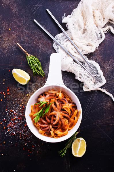 spaghetty with shrimps Stock photo © tycoon