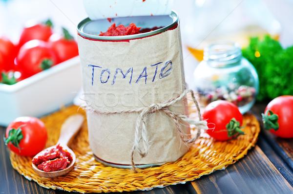 Molho de tomate metal banco tabela madeira luz Foto stock © tycoon