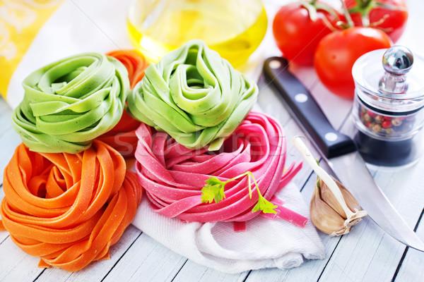 Nyers tészta szín fa asztal egészség háttér Stock fotó © tycoon