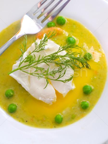 Stok fotoğraf: Taze · çorba · yeşil · bezelye · gıda · yumurta