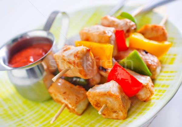Kebab háttér étterem zöld tyúk piros Stock fotó © tycoon