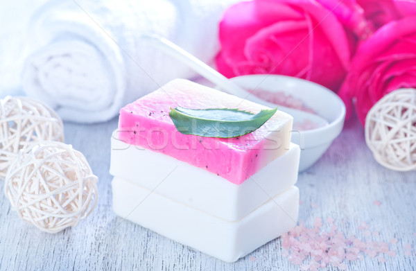 Aroma sapone rosa tavola fiore legno Foto d'archivio © tycoon