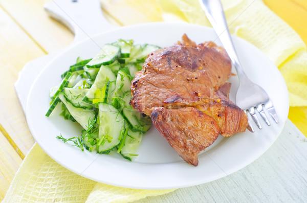 Hús saláta étel háttér zöld vacsora Stock fotó © tycoon