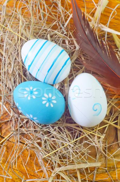 Stok fotoğraf: Paskalya · yumurtası · mutlu · dizayn · arka · plan · sanat · mavi