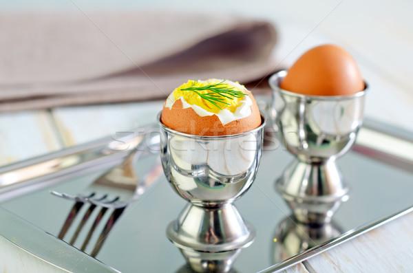 ストックフォト: 卵 · 朝食 · カップ · シェル · 料理