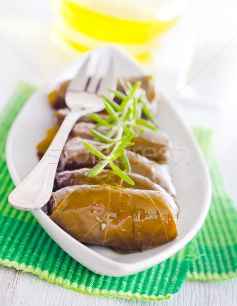 Сток-фото: свежие · лист · зеленый · пластина · мяса · риса
