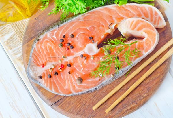 Lazac étel hal tenger zöld vacsora Stock fotó © tycoon