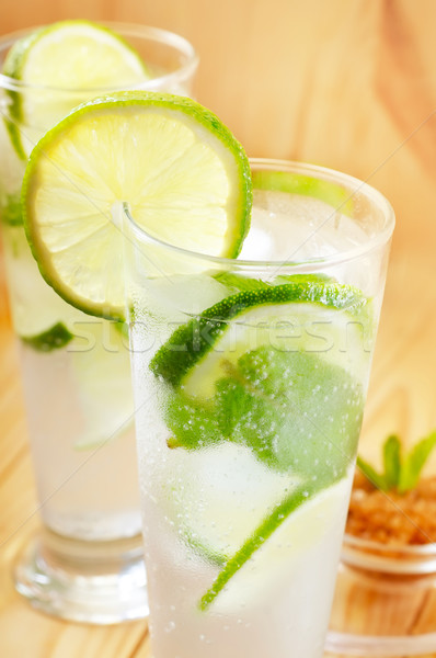 Mojito party vetro tavola cocktail limone Foto d'archivio © tycoon