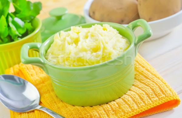 Aardappel voedsel home groene Blauw melk Stockfoto © tycoon