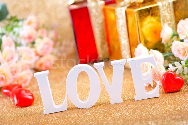шкатулке письма любви цветок счастливым Сток-фото © tycoon