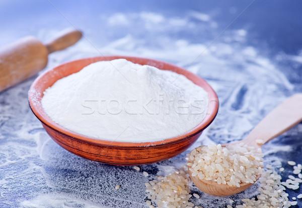 Rijst meel kom tabel witte koken Stockfoto © tycoon