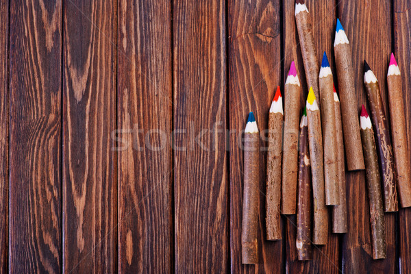 карандашей цвета деревянный стол таблице ребенка карандашом Сток-фото © tycoon