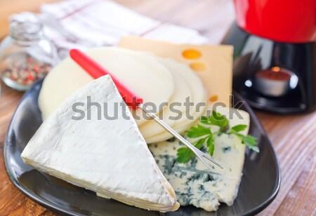 Tofu sajt konyhaasztal kék tányér fekete Stock fotó © tycoon