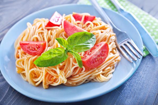 Queso pasta placa comer tomate de oliva Foto stock © tycoon
