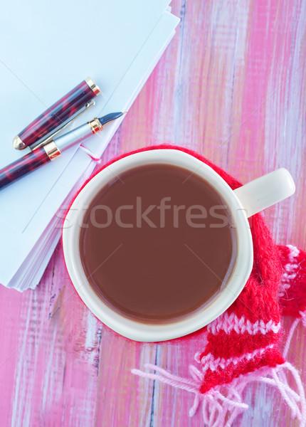 Içmek dikkat tablo sevmek defter kafe Stok fotoğraf © tycoon