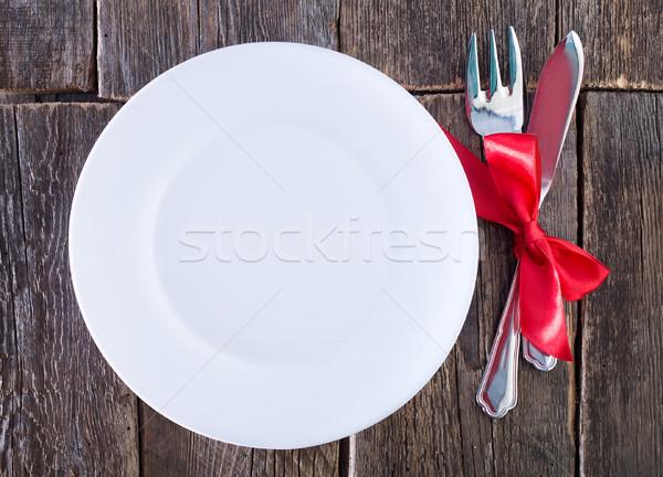 Garfo faca tabela prato fundo metal Foto stock © tycoon