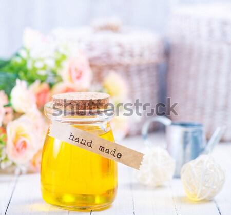 Sal do mar sabão fruto massagem relaxar garrafa Foto stock © tycoon